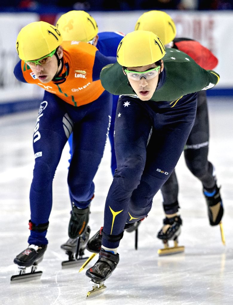 Koen Hakkenberg (L) of Netherlands and Pierre Boda (Front) of Australia compete in the men's Repechage round at the ISU Short Track Speed Skating World Cup in Montreal, Canada, Nov. 15, ...