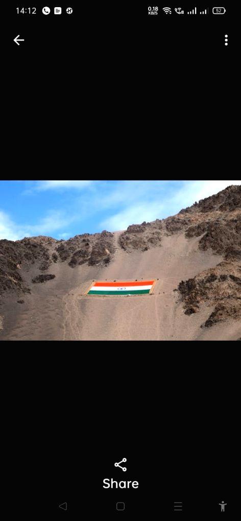 Monumental national flag unfurled in Leh.