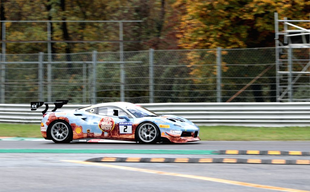 MONZA, Nov. 4, 2018 - David Fumanelli of Italy competes during the Ferrari Challenge Europe Race 2 at Monza Eni Circuit in Monza, Italy on Nov. 3, 2018.