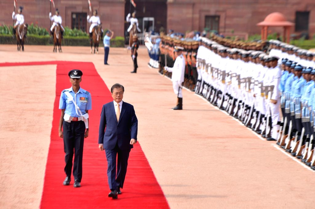 Moon Jae-in, President of the Republic of Korea inspects Guard of Honour during his ceremonial reception at Rashtrapath Bhawan  on July 10, 2018.