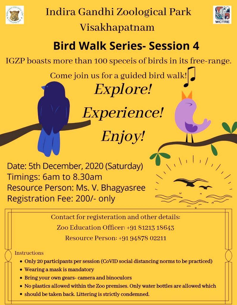 More bird walks in Vizag Zoo due to good response.