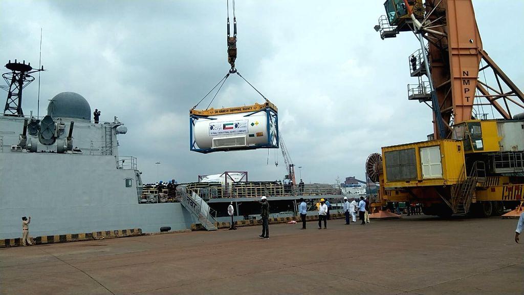 More naval ships bring oxygen to Karnataka from Kuwait.