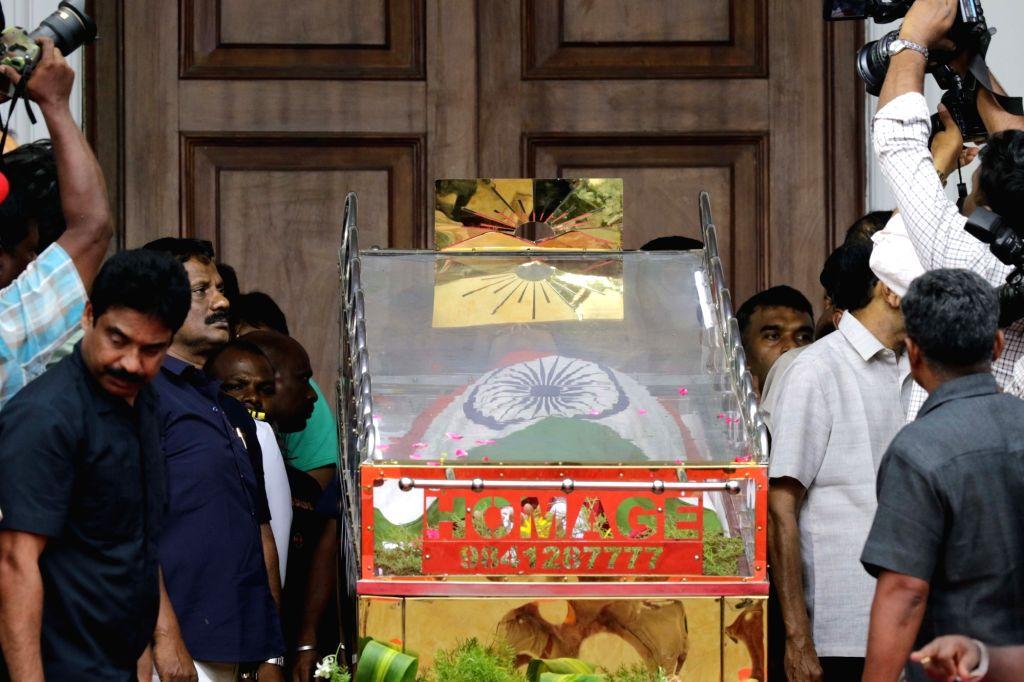 Mortal remains of DMK patriarch M. Karunanidhi kept at Rajaji Hall in Chennai on Aug. 8, 2018.