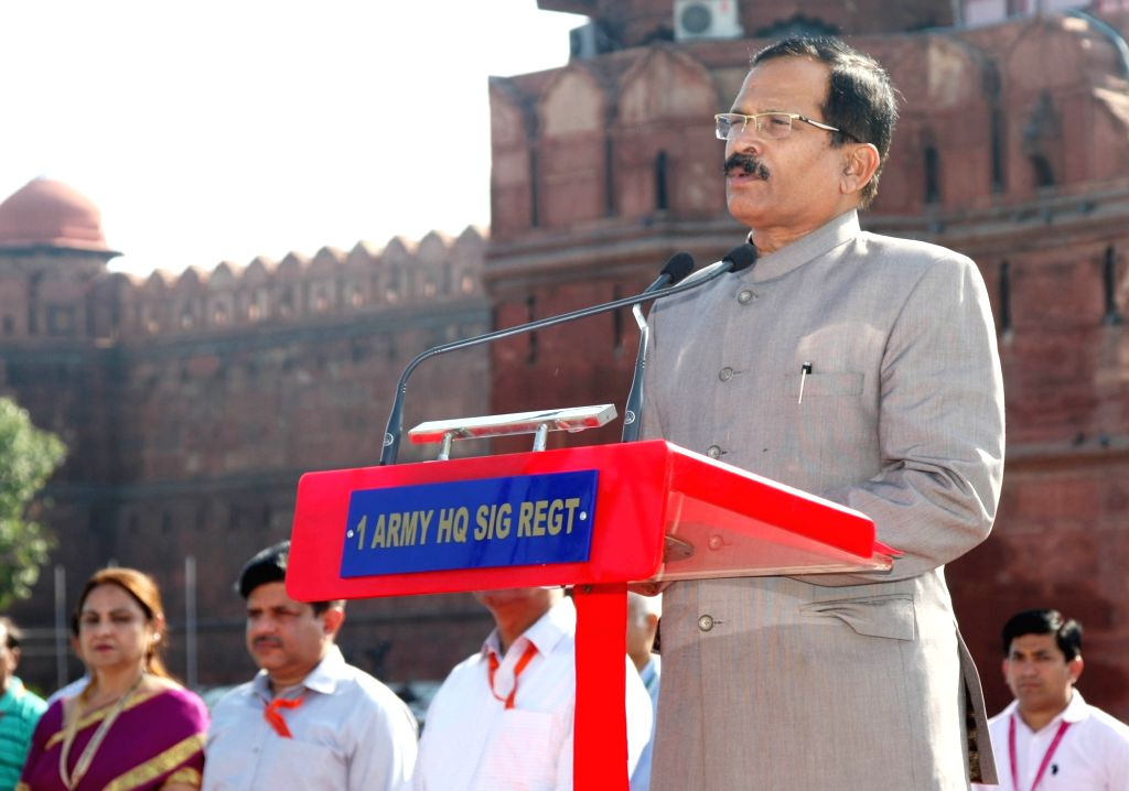 MoS AYUSH (Independent Charge) and Defence Shripad Yesso Naik addresses the NCC cadets and school children during the Independence Day Celebrations - 2019 rehearsal at Red Fort, in New ...