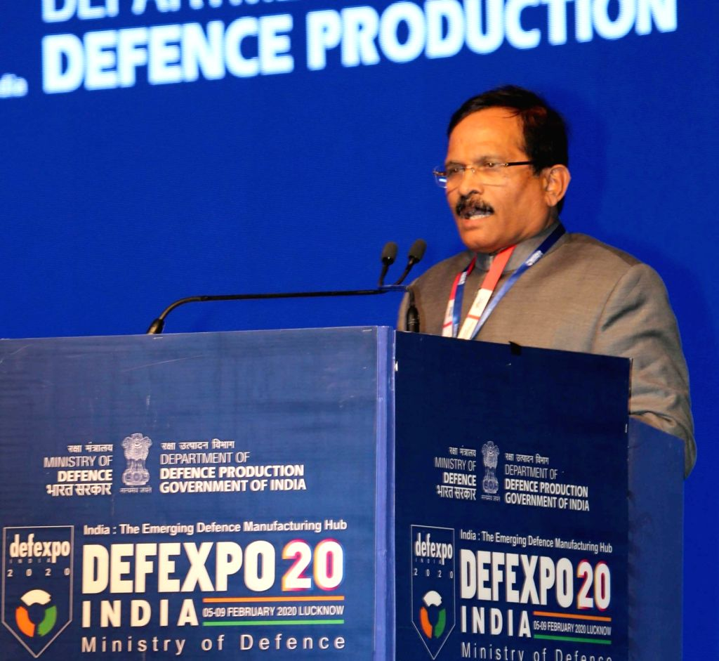 MoS Defence Shripad Yesso Naik addresses at the inaugural session of the 11th edition of DefExpo2020 in Lucknow on Feb 5, 2020.