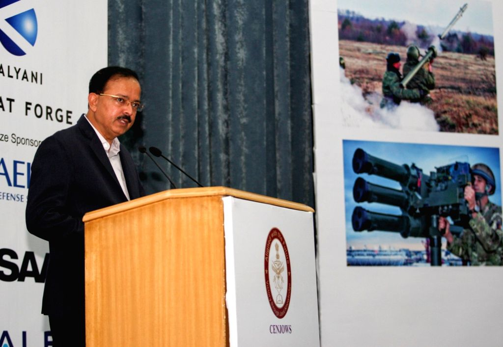 MoS Defence Subhash Bhamre addresses the gathering at the inauguration of Air Defence India 2018 Seminar & Exhibition in New Delhi on July 26, 2018.
