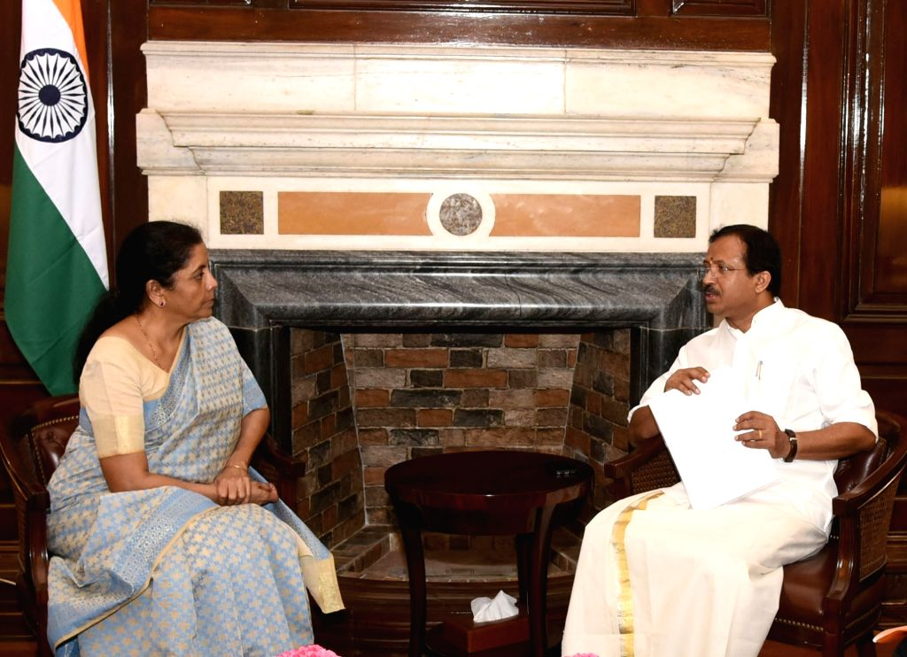 MoS External Affairs and Parliamentary Affairs V. Muraleedharan calls on Union Minister for Finance and Corporate Affairs Nirmala Sitharaman, in New Delhi on Aug 9, 2019.