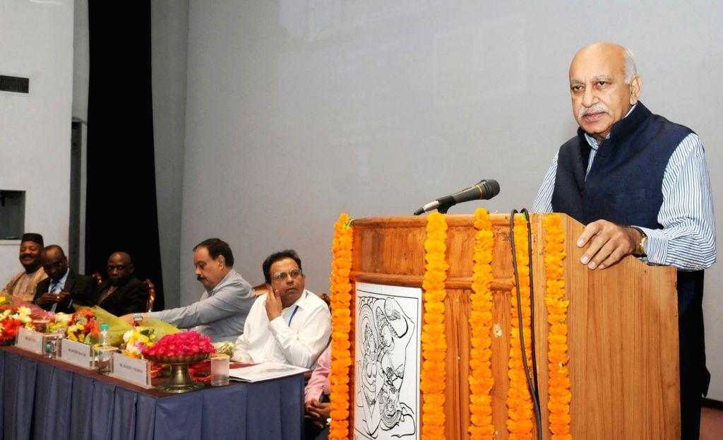 MoS External Affairs M.J. Akbar addresses at the inauguration of 'Taj Mahal Meets Timbuktu' - an exhibition of the manuscripts of Timbuktu, Mali; in New Delhi on May 24, 2018.