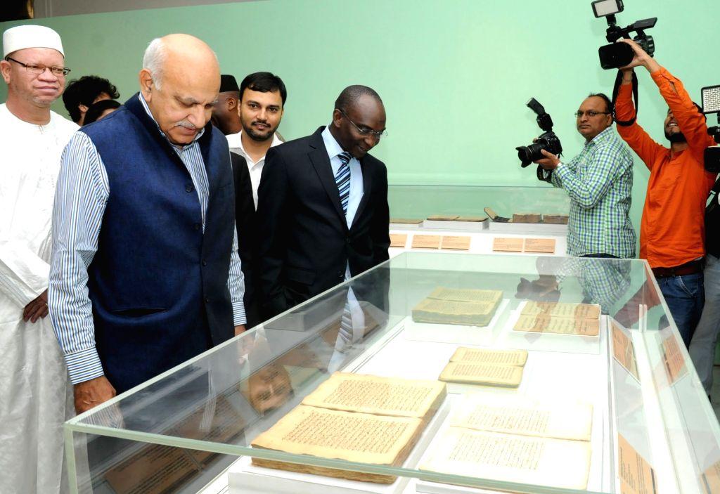 MoS External Affairs M.J. Akbar during 'Taj Mahal Meets Timbuktu' - an exhibition of the manuscripts of Timbuktu, Mali; in New Delhi on May 24, 2018.
