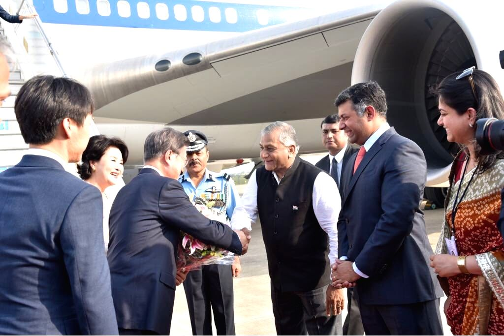 MoS External Affairs V.K. Singh receives South Korean President Moon Jae-in and his wife Kim Jung-sook on their arrival in New Delhi, on July 8, 2018. - K. Singh