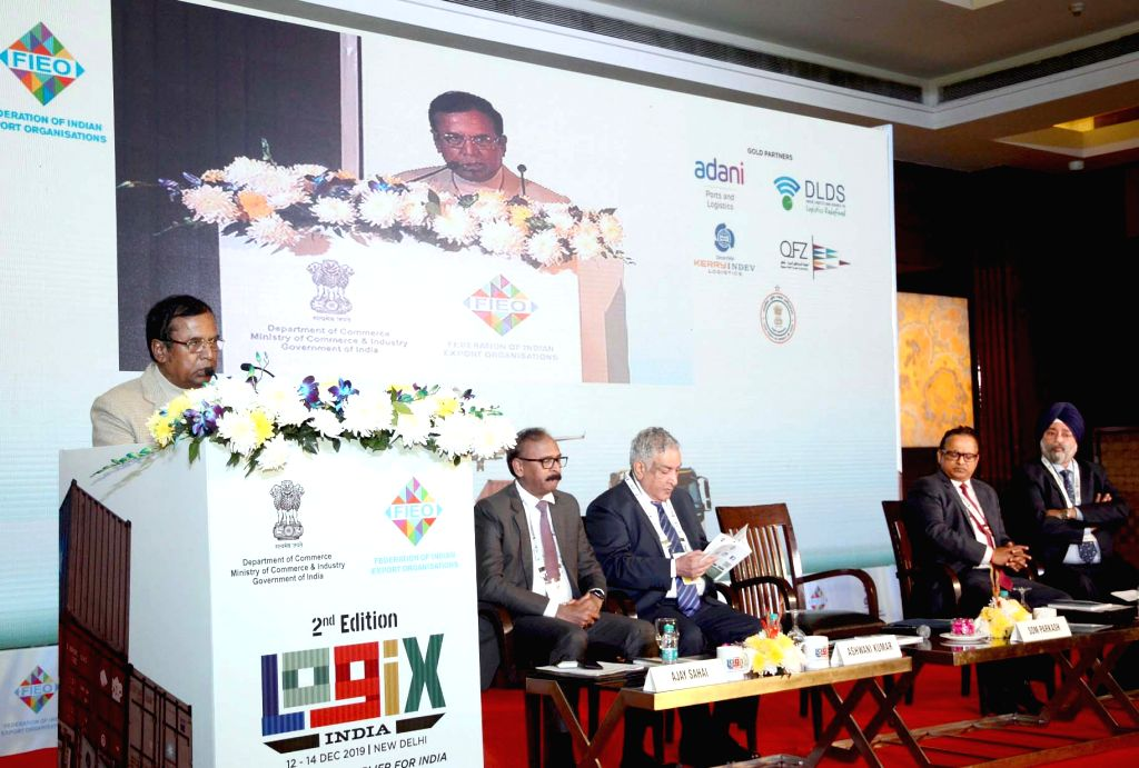 MoS for Commerce and Industry Som Parkash addresses at the inauguration of the LOGIX INDIA 2019 event, in New Delhi on Dec 12, 2019.