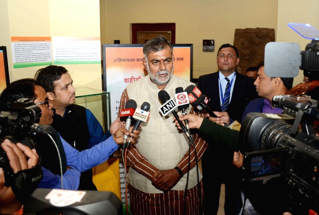 MoS for Culture and Tourism (Independent Charge) Prahlad Singh Patel briefs media after unveiling the 'Kalash' (urn) containing soil of Jalianwala Bagh, the soil of martyr at National ... - Prahlad Singh Patel