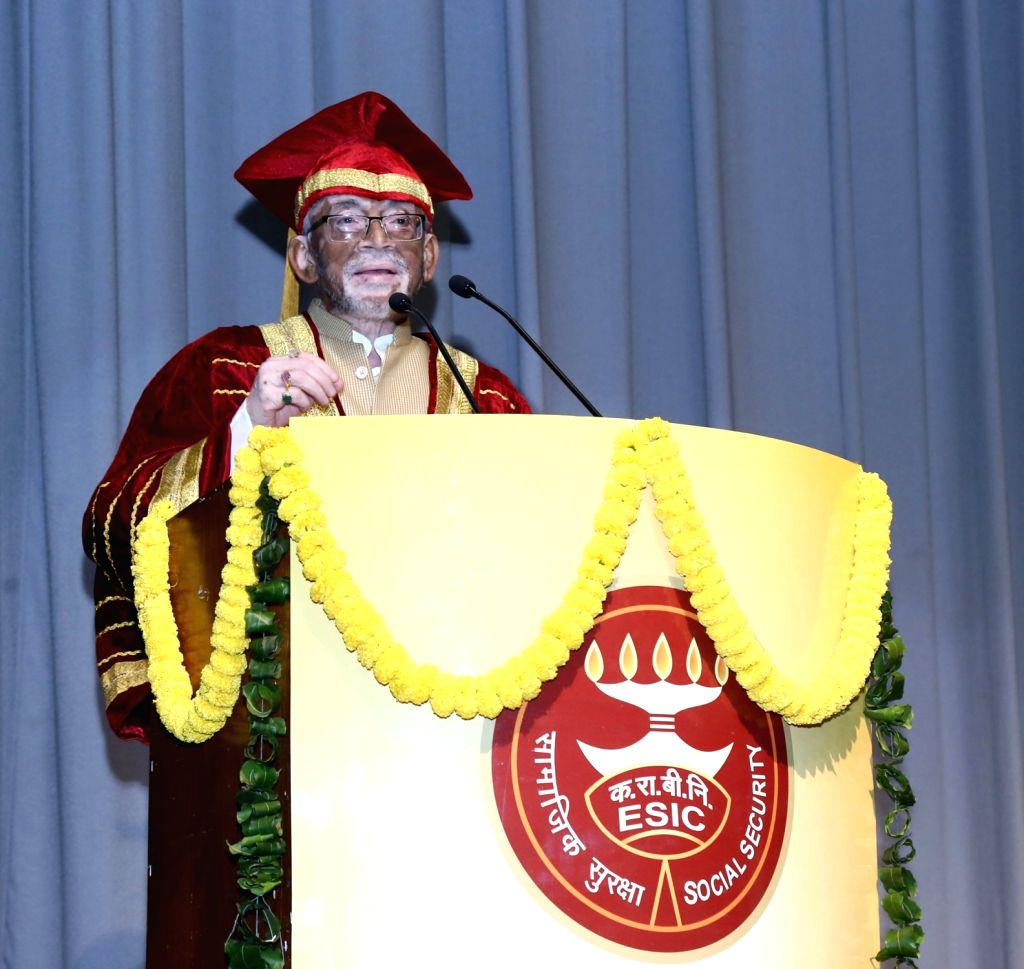 MoS for Labour and Employment (Independent Charge) Santosh Kumar Gangwar addresses at the 3rd Graduation Day Ceremony of ESIC Dental College and Hospital, Rohini, in New Delhi on Nov 13, ... - Santosh Kumar Gangwar