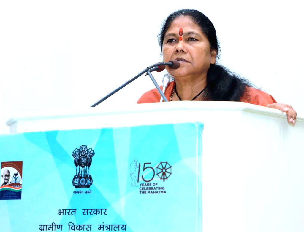MoS for Rural Development Sadhvi Niranjan Jyoti addresses at the inauguration of the two-day 'National Seminar on Social Audit of Rural Development Programmes' in New Delhi on Nov 13, 2019.