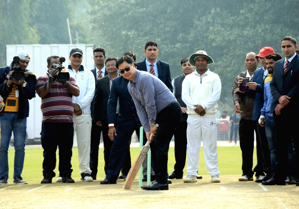 MoS for Youth Affairs and Sports (Independent Charge) and Minority Affairs Kiren Rijiju in action during the inauguration of the Cricket Stadium, at Kendriya Vidyalaya No. 1, Delhi Cantt., ...