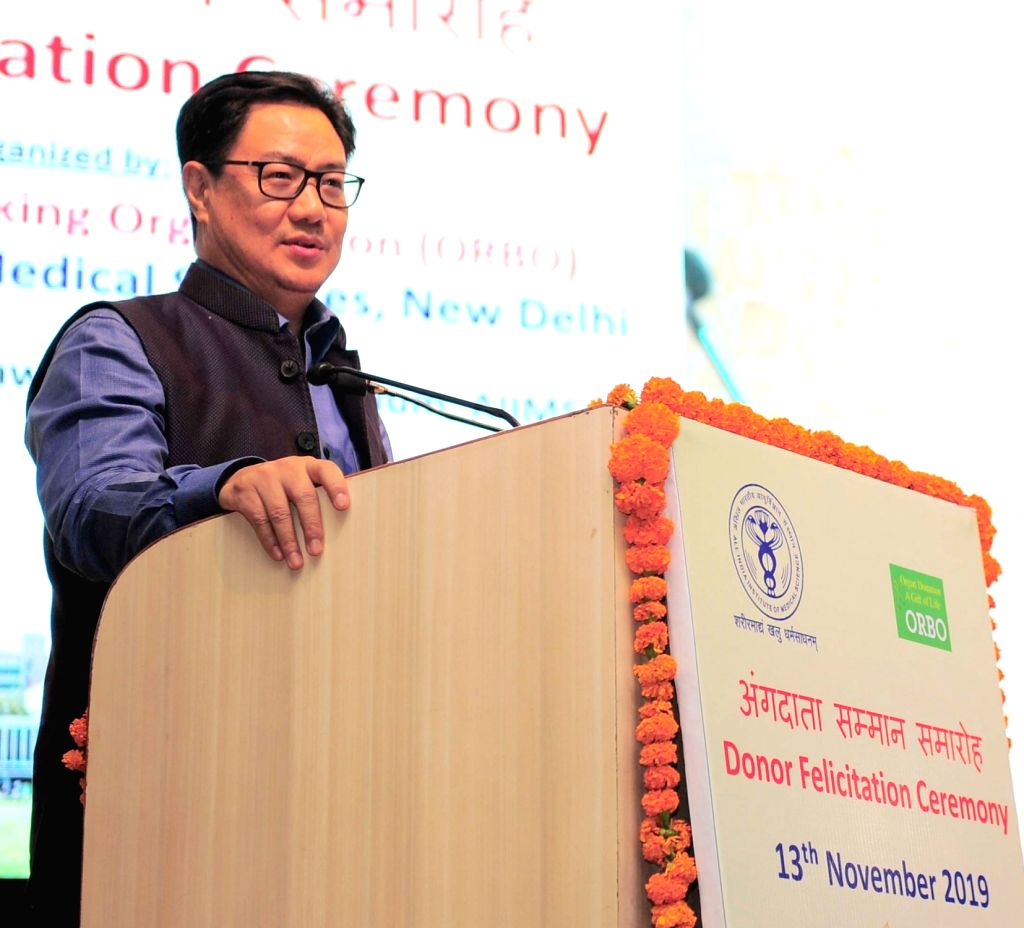 MoS for Youth Affairs & Sports (Independent Charge) and Minority Affairs Kiren Rijiju addresses at the Organ Donor Felicitation Ceremony, in New Delhi on Nov 13, 2019.