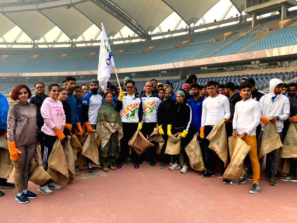 MoS for Youth Affairs & Sports (Independent Charge) and Minority Affairs Kiren Rijiju participate in the 50th Plog Run at Jawahar Lal Nehru Stadium in New Delhi on Dec 5, 2019.