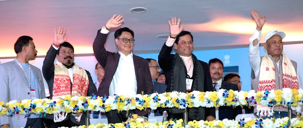 MoS for Youth Affairs & Sports (Independent Charge) and Minority Affairs Kiren Rijiju and Assam Chief Minister Sarbananda Sonowal during the inaugural of third edition of Khelo India ... - Sarbananda Sonowal