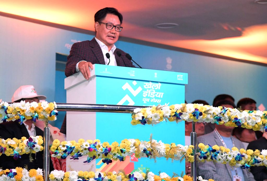 MoS for Youth Affairs & Sports (Independent Charge) and Minority Affairs Kiren Rijiju addresses during the inaugural of third edition of Khelo India Youth Games, in Guwahati on Jan 10, ...