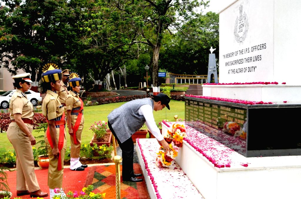MoS Home Affairs Kiren Rijiju lays wreath at the memorial built at Sardar Vallabhbhai Patel National Police Academy in the memory of police officers who made supreme sacrifices, in Hyderabad on July .