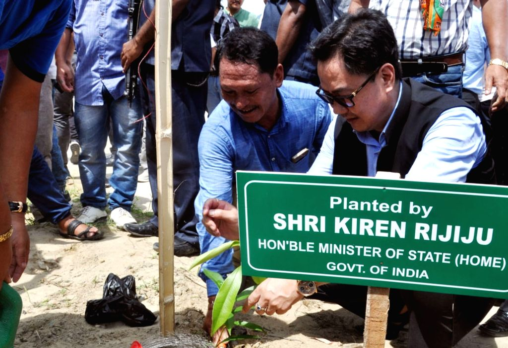 "MoS Home Affairs Kiren Rijiju plants a sapling during the ""Swachchta hi Sewa"" programme in Itanagar, Arunachal Pradesh on Sept 17, 2017."