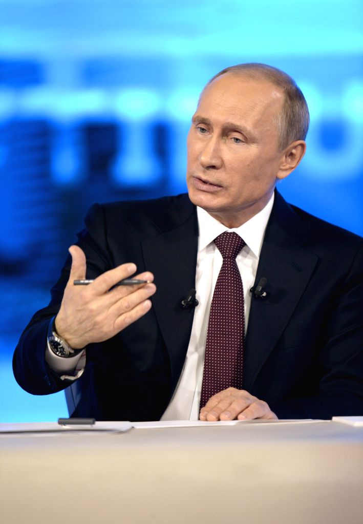 Russian President Vladimir Putin speaks during his televised question-and-answer session in Moscow, capital of Russia, on April 17, 2014.
