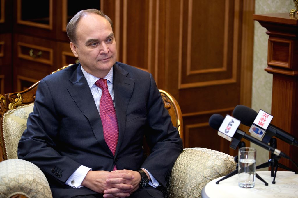 MOSCOW, April 17, 2016 - Russian Deputy Defense Minister Anatoly Antonov speaks during a joint interview with China's Xinhua News Agency and China Central Television (CCTV) in Moscow, Russia, April ... - Anatoly Antonov