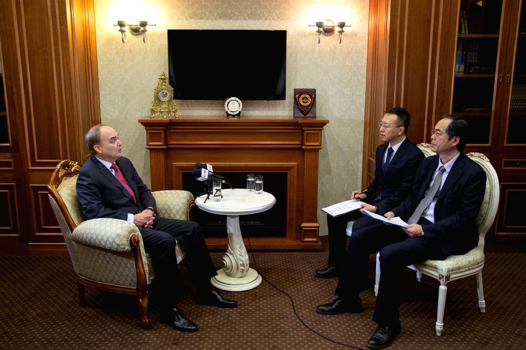 MOSCOW, April 17, 2016 - Russian Deputy Defense Minister Anatoly Antonov (L) speaks during a joint interview with China's Xinhua News Agency and China Central Television (CCTV) in Moscow, Russia, ... - Anatoly Antonov