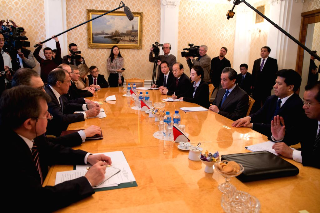 MOSCOW, April 18, 2016 - Chinese Foreign Minister Wang Yi meets with Russian Foreign Minister Sergey Lavrov  in Moscow, capital of Russia, on April 18, 2016. - Wang Y