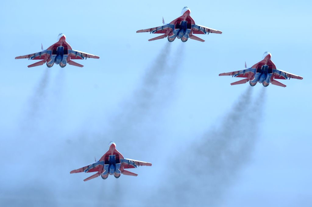 MOSCOW, April 20, 2016 - The Swifts aerobatic team fly during the rehearsal of the aviation part of Victory Day parade in Kubinka airport, Russia, April 20, 2016.