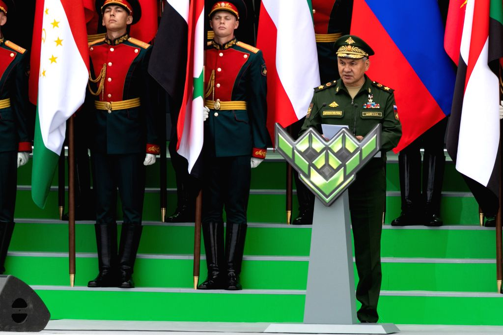 MOSCOW, Aug. 4, 2019 - Russian Defense Minister Sergey Shoygu (front) speaks during the opening ceremony of the International Army Games 2019 on the outskirts of Moscow, Russia, on Aug. 3, 2019. The ... - Sergey Shoygu