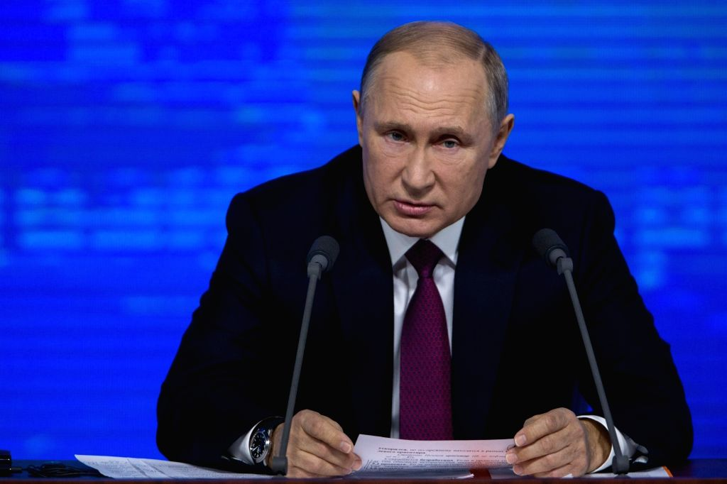 MOSCOW, Dec. 20, 2018 (Xinhua) -- Russian President Vladimir Putin speaks during his annual press conference in Moscow, Russia, Dec. 20, 2018. (Xinhua/Bai Xueqi/IANS)