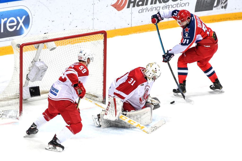 MOSCOW, Feb. 19, 2019 - Joni Ortio of Vityaz (C) defends the goal during the 2018-2019 KHL game between CSKA Moscow and Vityaz Podolsk in Moscow, Russia on Feb. 18, 2019. CSKA won 6-1.