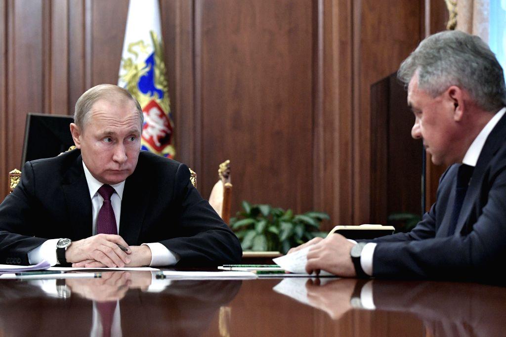 MOSCOW, Feb. 2, 2019 - Russian President Vladimir Putin (L) meets with Defense Minister Sergei Shoigu in Moscow, Russia, on Feb. 2, 2019. Russian President Vladimir Putin said Saturday that Russia ... - Sergei Shoigu