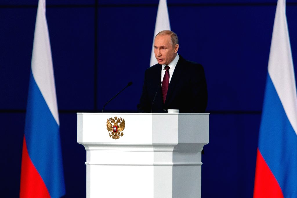 MOSCOW, Feb. 20, 2019 - Russia's President Vladimir Putin speaks during the annual address to the Federal Assembly in Moscow, Russia, Feb. 20, 2019. The preliminary results of the implementation of ...