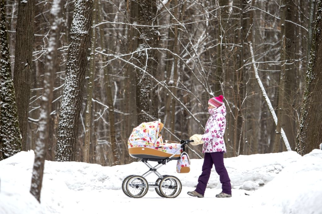 MOSCOW, Feb. 21, 2019 - A woman walks with a baby carriage in a park in Moscow, Russia, on Feb. 21, 2019.
