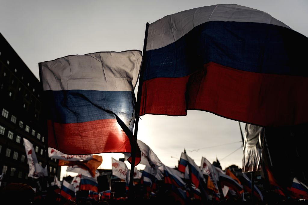 MOSCOW, Feb. 26, 2017 - People participate in a rally in memory of Russian politician Boris Nemtsov in Moscow, Russia, on Feb. 26, 2017. Thousands of people gathered to participate in the rally in ...