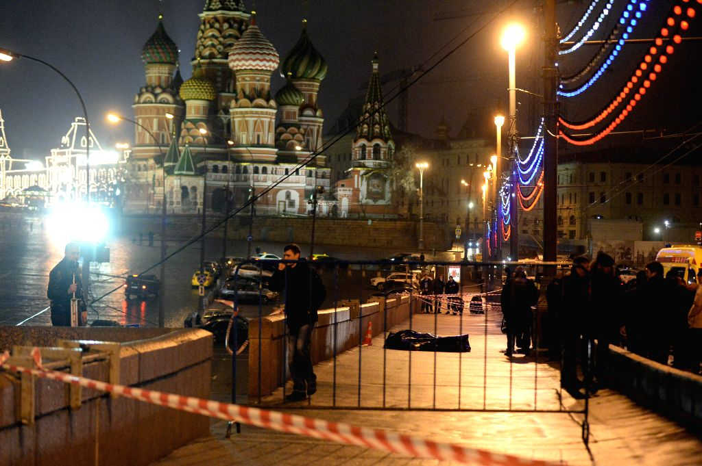 Photo taken on Feb. 28 (local time), 2015 shows the shooting site where Russian opposition leader Boris Nemtsov was killed in Moscow, Russia. Russian opposition ...