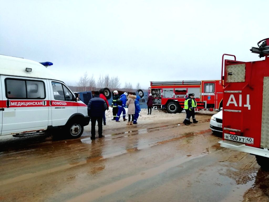MOSCOW, Feb. 3, 2019 - A handout photo released by Russian Emergency Situations Ministry shows rescue workers working at the crash site, in Kaluga region, Russia, on Feb. 3, 2019. At least 7 people, ...