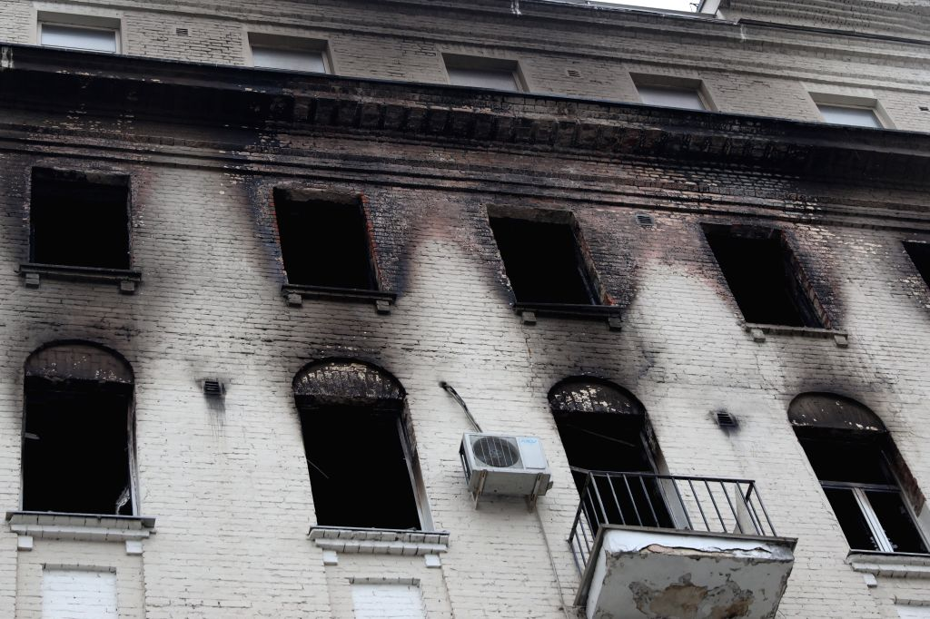 MOSCOW, Feb. 4, 2019 - Photo taken on Feb. 4, 2019 shows the apartment building where a fire broke out in Moscow, Russia. The death toll in a fire in a luxury apartment building in central Moscow has ...