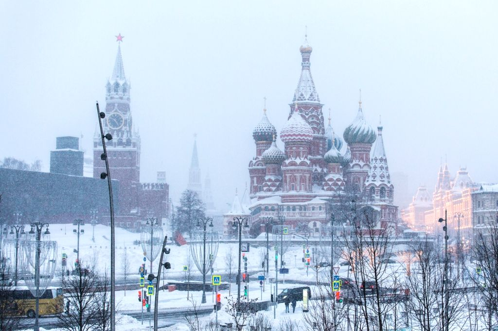 MOSCOW,Feb. 5, 2018 - Photo taken on Feb. 5, 2018 shows the Spasskaya Tower (L) and the Saint Basil's Cathedral at the red square in Moscow, Russia, on Feb. 5, 2018. Moscow experienced a record ...