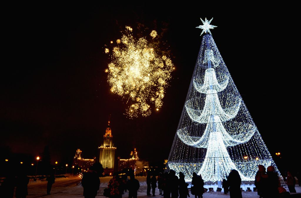 Fireworks are seen during an event marking New Year's Day in Moscow, Russia, Jan. 1, 2015.