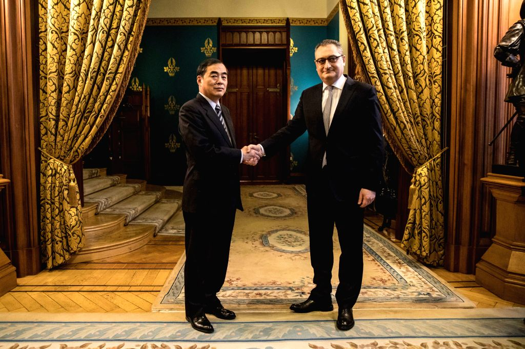 MOSCOW, Jan. 13, 2017 - China's Assistant Foreign Minister Kong Xuanyou (L) shakes hands with Russia's Deputy Foreign Minister Igor Morgulov before a meeting in Moscow, Russia, Jan. 12, 2017. China ... - Kong Xuanyou