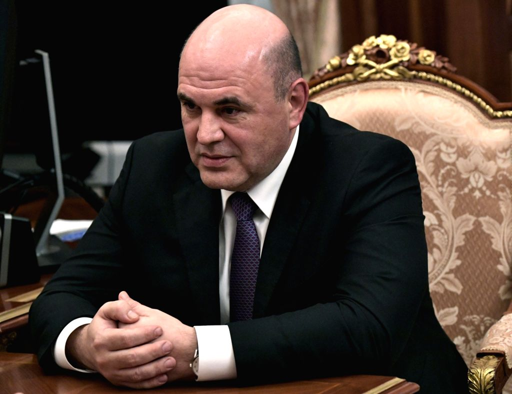 MOSCOW, Jan. 15, 2020 (Xinhua) -- Mikhail Mishustin, Federal Tax Service chief, is seen during a meeting with Russian President Vladimir Putin in Moscow, Russia, on Jan. 15, 2020. Russian President Vladimir Putin has named Federal Tax Service chief M