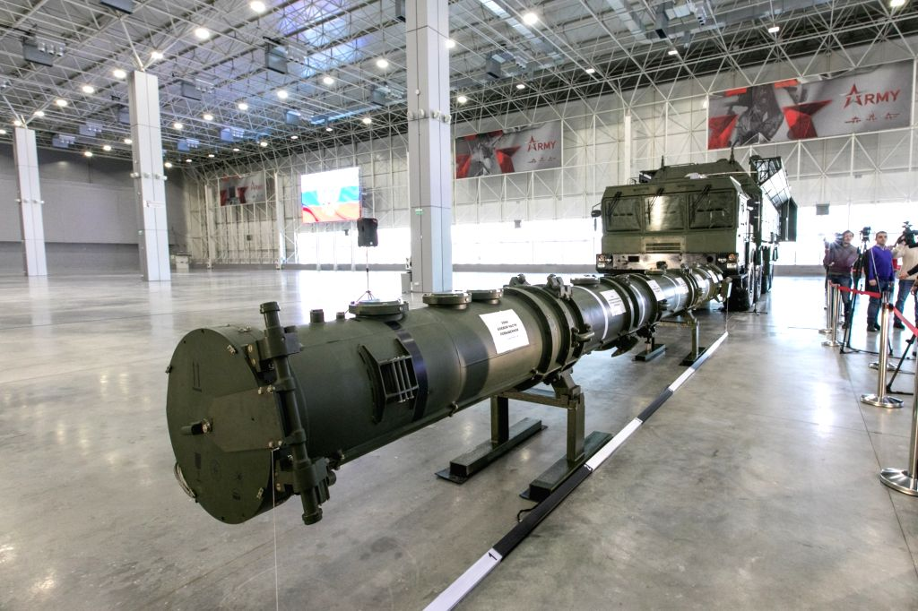 MOSCOW, Jan. 23, 2019 (Xinhua) -- The 9M729 missile container is demonstrated at the Patriot Congress and Exhibition Center, outside Moscow, Russia, on Jan. 23, 2019. The Russian 9M729 land-based cruise missile, contrary to the allegations of the Uni