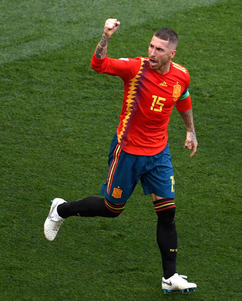 MOSCOW, July 1, 2018 (Xinhua) -- Sergio Ramos of Spain celebrates after Russia's Sergey Ignashevich scored an own goal during the 2018 FIFA World Cup round of 16 match between Spain and Russia in Moscow, Russia, July 1, 2018. (Xinhua/Wang Yuguo/IANS)
