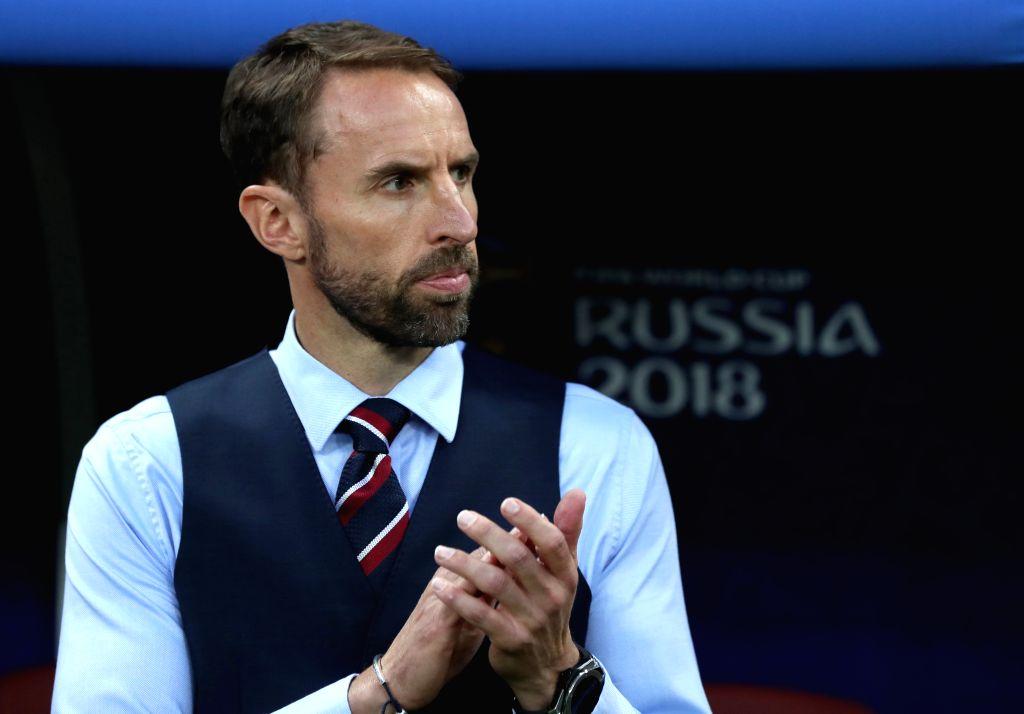 MOSCOW, July 11, 2018 (Xinhua) -- Head coach Gareth Southgate of England is seen prior to the 2018 FIFA World Cup semi-final match between England and Croatia in Moscow, Russia, July 11, 2018. (Xinhua/Xu Zijian/IANS)