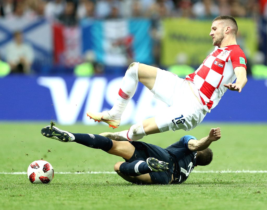 MOSCOW, July 15, 2018 - Ante Rebic (top) of Croatia competes during the 2018 FIFA World Cup final match between France and Croatia in Moscow, Russia, July 15, 2018.