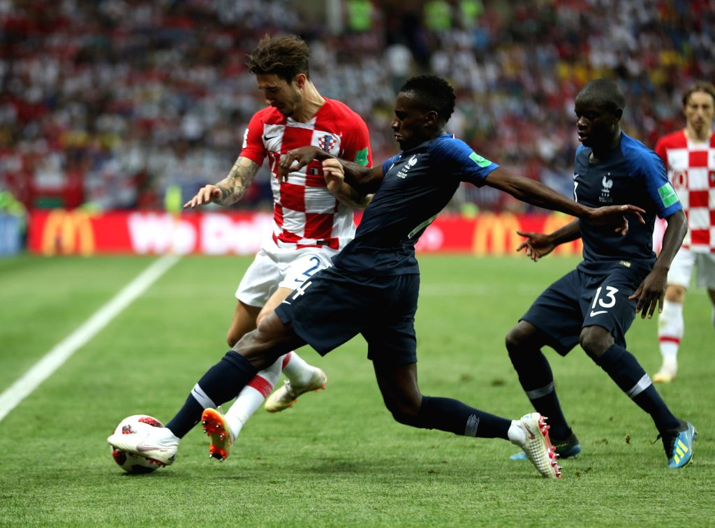 MOSCOW, July 15, 2018 - Blaise Matuidi (C) of France vies with Sime Vrsaljko (L) of Croatia during the 2018 FIFA World Cup final match between France and Croatia in Moscow, Russia, July 15, 2018.
