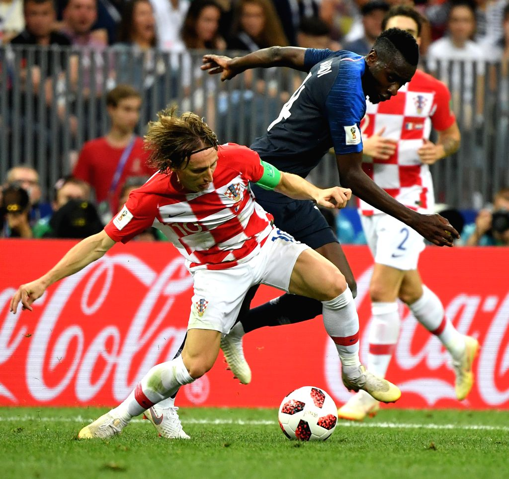 MOSCOW, July 15, 2018 - Blaise Matuidi (R) of France vies with Luka Modric of Croatia during the 2018 FIFA World Cup final match between France and Croatia in Moscow, Russia, July 15, 2018.